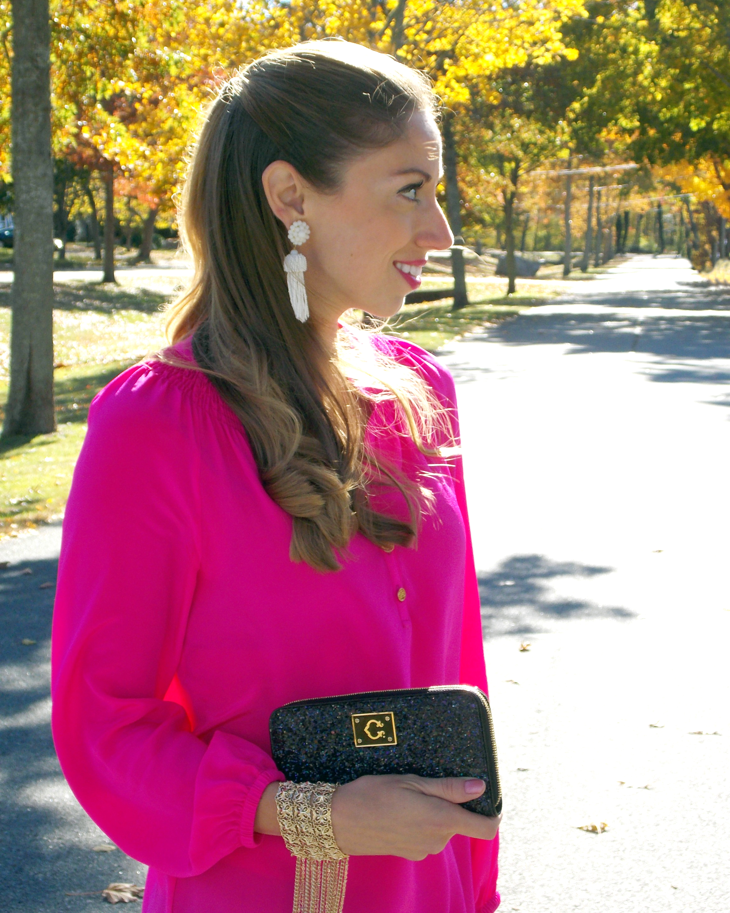 Hot Pink Elsa, Lilly Pulitzer, Lisi Lerch Tassel Earrings, Kate Spade  Glitter Shoes